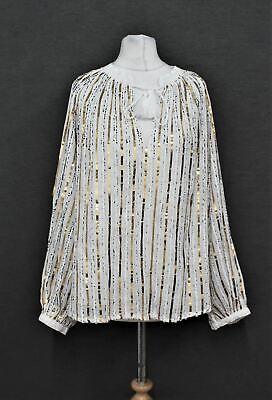 JADE JOHNNY WAS Ladies White Cotton Eden Sequin Striped Tunic Top Size M BNWT