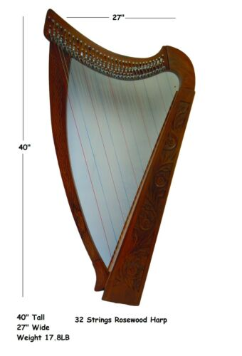 32 Strings Handmade Rosewood Lever Harp with free Strings, Tuning Key and Bag