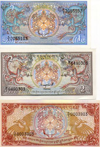 BHUTAN Asia set of 3 notes 1,2,5 Ngultrum UNC 1985,1986 p-12,13,14