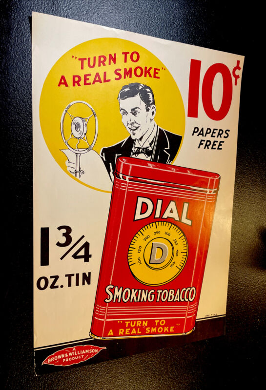 ORIGINAL 1940's Dial 10 Cent Tobacco Advertising Sign Poster