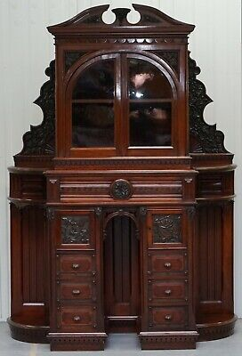 VERY RARE HAND CARVED WALNUT VICTORIAN CABINET WITH DRAWERS CUPBOARDS 188CM TALL for sale  Shipping to Canada