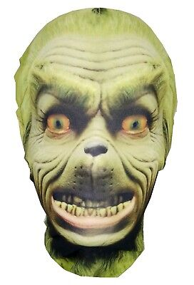 The Grinch - Christmas - Full Head Lycra Morph Style Mask - Halloween Costume