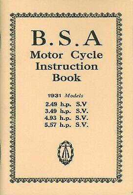 BSA Instruction Book 1931 2.49 hp SV 3.49 SV 4.93 5.57 SV Sloper Manual
