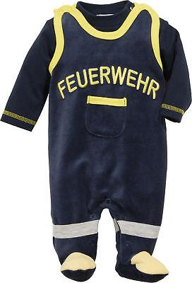 Baumwolle Mischung Anzug (Playshoes Strampler-Set Nicki Feuerwehr Langarm Schlafanzug Baumwollmischung)