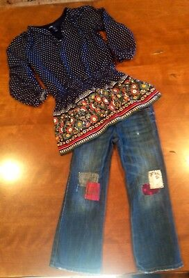 Baby Gap Navy Peasant Top with 1969 Patchwork Jeans Size 3/4 Baby Gap Patchwork