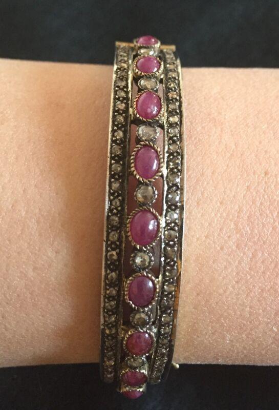 $1,600 ?TCW Pave Diamond, Ruby & Rose Gold/Sterling Silver Bangle Bracelet