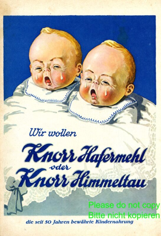Baby food Knorr XL Austrian 1928 ad baby twins crying tears advertising Austria