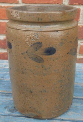 Good 19th Cen Stoneware Jar With Cobalt Sprig Decoration