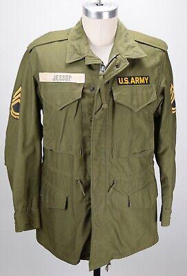 VINTAGE US ARMY M-1951 SATEEN OG 107 FIELD JACKET COAT MENS S NAMED