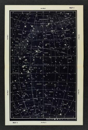 1961 Gall & Inglis Star Map Equator Ecliptic Auriga Capella Perseus Orion Taurus