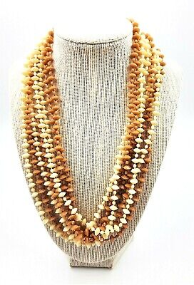 60s -70s Jewelry – Necklaces, Earrings, Rings, Bracelets Cream Caramel Torsade Lucite Woman's Necklace 1960's Vintage Costume Jewellery $33.40 AT vintagedancer.com
