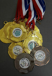 10x-SPORTS-DAY-PERSONALISED-SCHOOL-CLUB-OLYMPIC-MEDAL-RIBBON-GOLD-SILVER-BRONZE