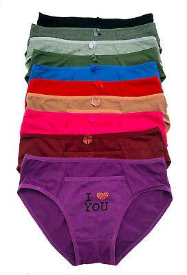 Lot 6 or 12 Beaded Heart I Love You Inside Pocket COTTON Bikini Panty S/M/L/XL