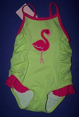 Gymboree Flamingo Flowers Lime Green Flamingo Swim Suit 3-6