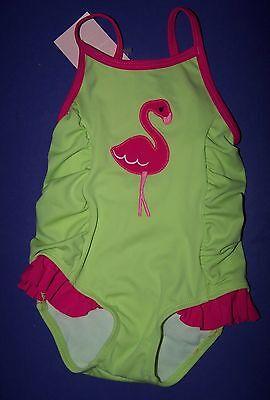 Gymboree Flamingo Flowers Lime Green Flamingo Swim Suit 3-6