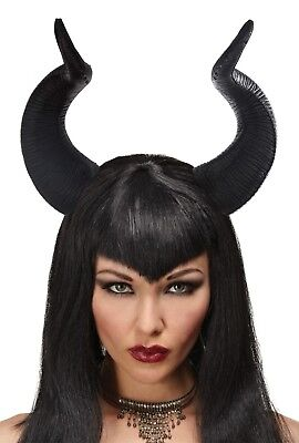 ADULT QUEEN FICENT HORNS WITCH DEMON DEVIL MALEFICENT COSTUME HEADPIECE - Costume Demon Horns