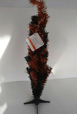 Ashland Halloween tinsel tree Black Orange 24 inches tall brand new with tags