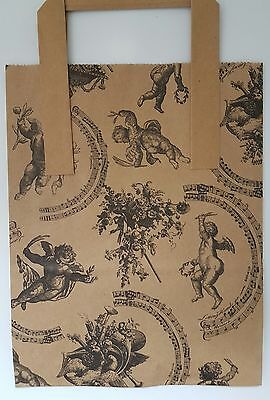 20 Kraft Cherub Vintage patterned small paper carrier bags for gift, shop 7x9x3
