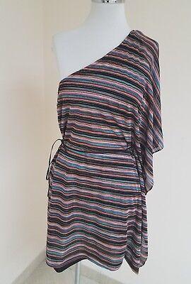 One-shoulder Kimono Top (Karina Grimaldi Top one shoulder Kimono Style Side Belt Multi Color Sz M)
