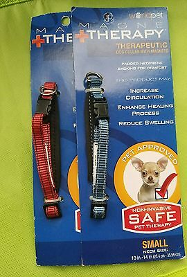 """2 New Blue + Red Worldpet Dog Collar w/ magnets Magne Therapy Small 10"""" - 14"""""""
