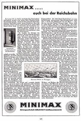 1935 Minimax Neuruppin Feuerl. Reichsbahn ca. 20x29 cm orig. Printwerbung (121)