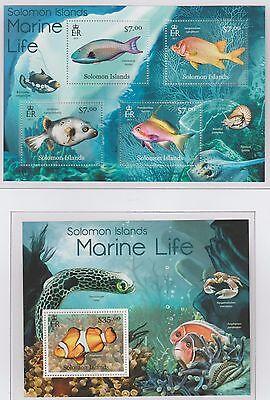 Solomon Islands Marine Life 2 Stamp Sheets 2013 U/Mint