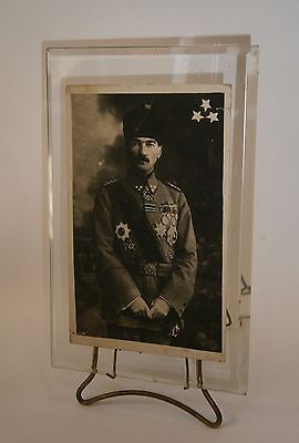 VTG BRONZE GLASS FRAME ANTIQUE PHOTO POSTCARD PICTURE - KEMAL ATATURK w/ UNIFORM