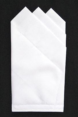 POCKET SQUARE white 3 point  -Custom pre-folded & Sewn - just slips in pocket