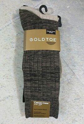 Gold Toe Mens Socks 3 Pair Pack Casual Crew Ribbed Cotton Blend Brown Khaki -