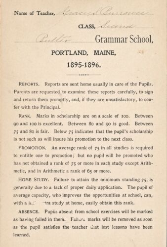 1895-96 Butler Grammer School, Portland, ME 2nd Grade Report Card Walter Reeves