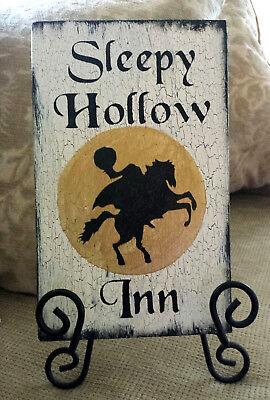 Primitive Halloween Sign Headless Horseman Sleepy Hollow Inn Wooden Sign - Wooden Halloween Signs