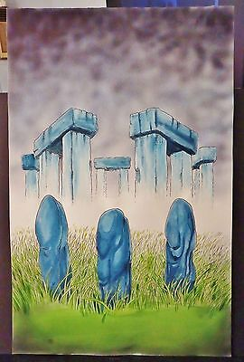"""STONEHEDGE"" MIXED MEDIA FULL COLOR ORIGINAL FANTASY ART-BARRY BLAIR-11"" BY 17"""