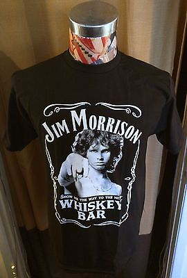 NEW JIM MORRISON SHOW ME THE WAY DOORS WHISKEY BAR ~ BLACK T SHIRT ~ SMALL