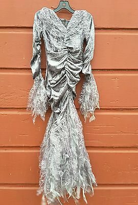 NWT CUTE WITCH DRESS SILVER GREY ORGANZA GIRLS SIZE 8 BRUJA COSTUME FALLEN ANGEL](Girls Fallen Angel Costume)