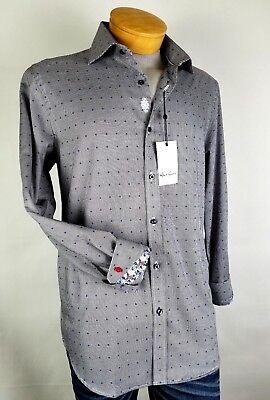 Robert Graham Booker Navy Woven Sport Shirt Sz Small 16.5 Button Up Houndstooth