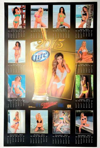 Vintage Sexy Swimsuit Calendar Girls Models Miller Lite Beer Poster 2013 - 28x18