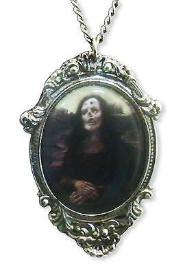 Gothic Zombie Mona Lisa in Victorian Frame Pewter Necklace NK-620 (Mona Lisa Frame)