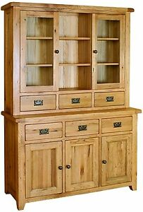 oak furniture dining room large glazed display cabinet dresser ebay