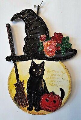 WITCH HAT on FULL MOON w BLACK CAT * Glitter HALLOWEEN ORNAMENT * Vtg Img