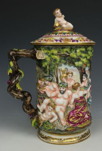 Antique Capodimonte Beer Stein with Bacchanalian Scene WorldWide