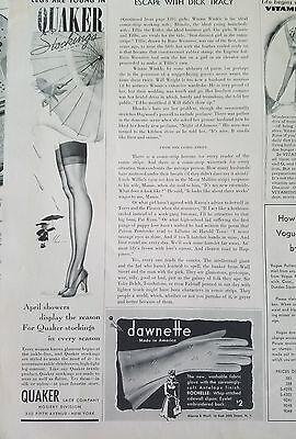 1941 Quaker stockings Hosiery woman's legs vintage fashion parasol ad