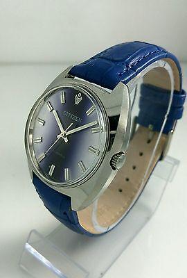 Vintage Citizen 63-4131 NOS hand winding watch Cal 0200 Deep blue 70's Rare L6✓
