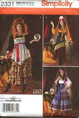 Simplicity Gypsy Fortune Teller Costume Sewing Pattern #2331 Size 6-8-10-12 UC - Plus Size Fortune Teller Gypsy Costume