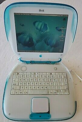 Apple iBook Clamshell G3 Teal Blue, Power PC 300 Mhz 288MB Mac OS 9.0. Working