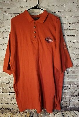 Harley Davidson Men's Shirt XL Rust Orange 1/4 Button Down Richmond Virginia t12