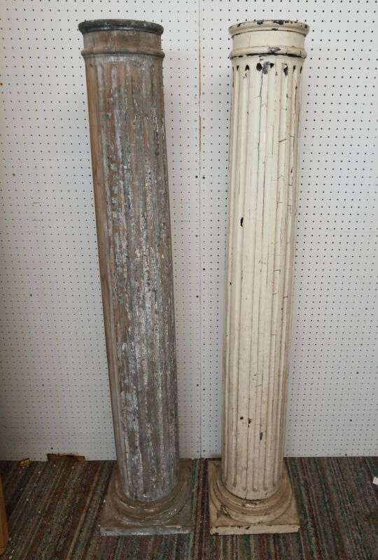 Antique Pillar Column Two Vintage Porch Garden Salvage Post pair wood pillars