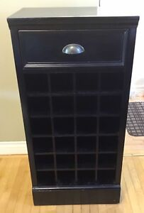 Wine Shelf with Top Drawer (Black)