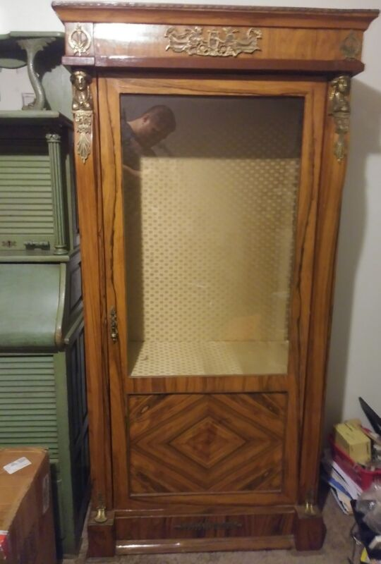 Antique French Ormolu Parlor Cabinet, with brass accent pieces