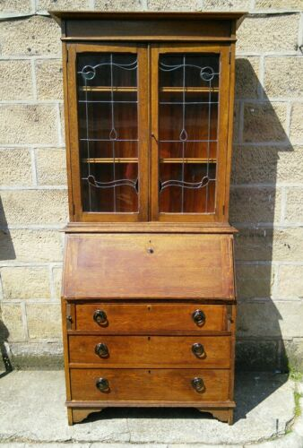 Stunning Antique Solid Oak Art Nouveau Bookcase Bureau Desk