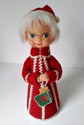 Red Felt Vintage Christmas Elf Choir Boy with Glasses & Bag Styrofoam base